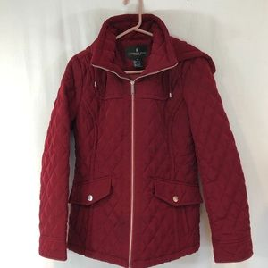 London Fog women's Quilted Jacket Sz S Zip Red